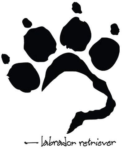 design lab outline labrador dog paw tattoo design