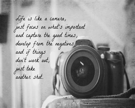 life    camera quote print photography black white