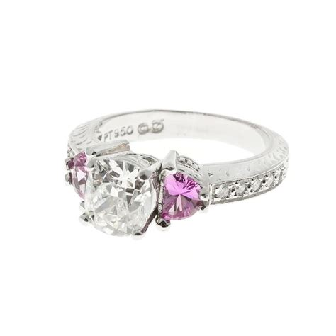 suchy designs pink sapphire platinum ring