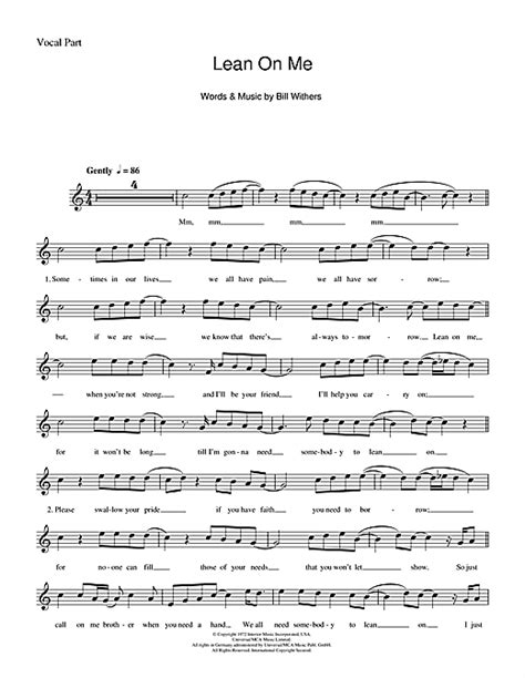 printable lyrics lean on me lean on me chords by bill withers melody line lyrics