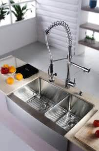 modern kitchen sinks kraus khf203 33 kpf1602 ksd30ch 33 inch farmhouse double bowl sink and faucet modern kitchen
