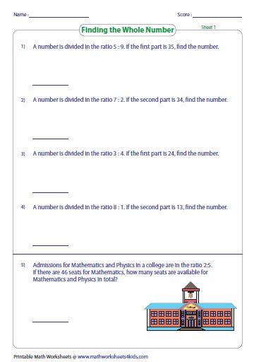 Ratio Problems Worksheet