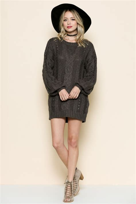 Sleeve Cable Knit Dress charcoal cable knit sleeve sweater dress