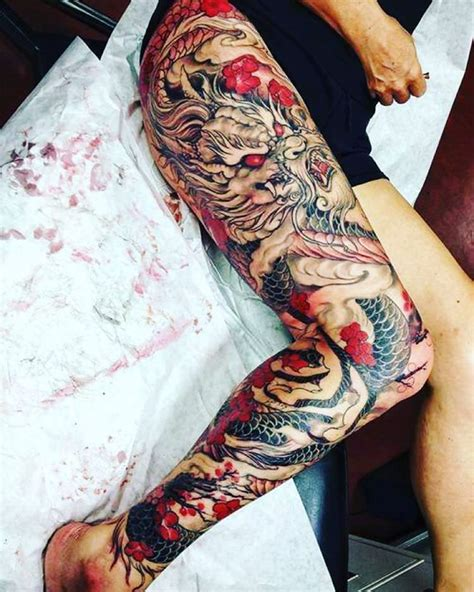black and red tattoo style 27 leg sleeve designs ideas design trends