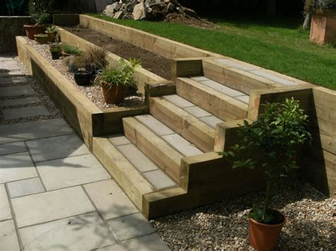 How To Build Steps With Railway Sleepers by Garden Design Portfolio Sleepers Steps New