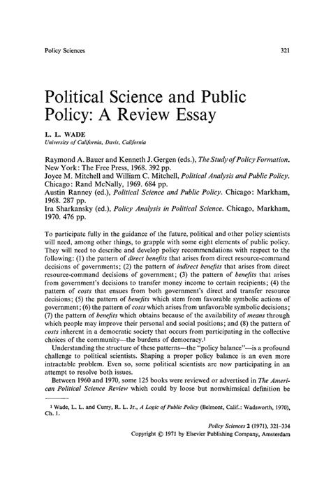 Political Science Research Paper Guidelines by Political Science And Policy A Review Essay Springer