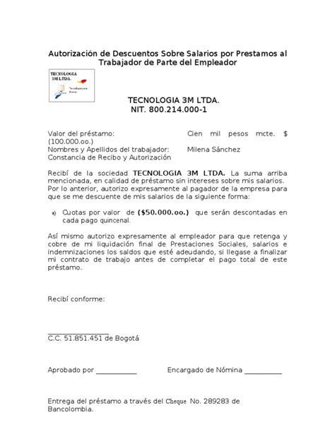 ejemplo de carta de prestamo de dinero formato autorizacion prestamos
