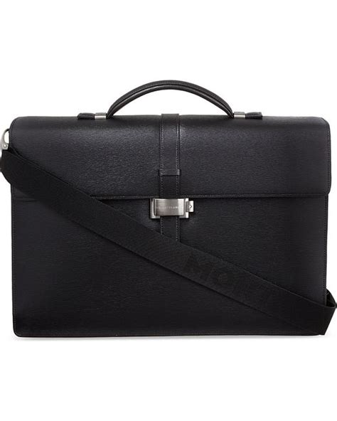 montblanc westside gusset briefcase in black lyst