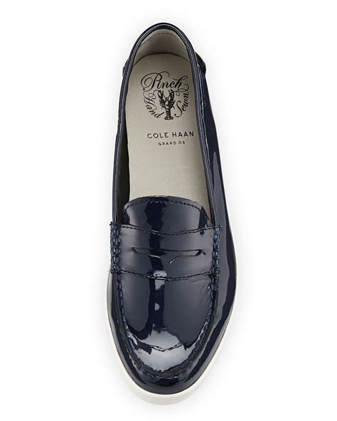 cole haan patent leather loafers cole haan pinch patent leather loafer in blue lyst