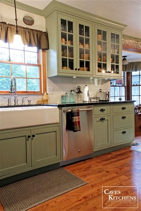 Green Country Kitchen Green Country Cottage Kitchen With Farmhouse Sink Transitional Kitchen Other Metro