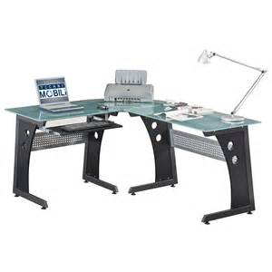 Techni Mobili L Shaped Glass Computer Desk With Chrome Frame Home Office Desks Glass Panel Steel Frame L Shaped Desk
