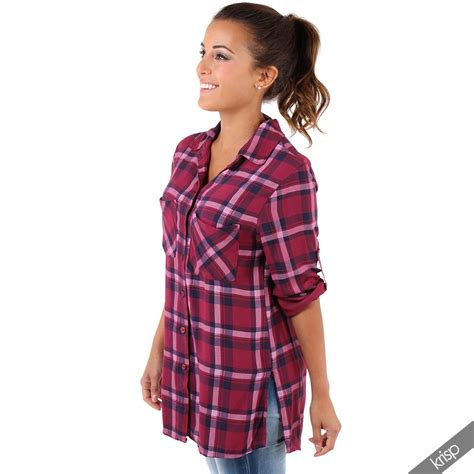 Tartan Knot Blouse 1 womens classic check tartan shirt buttoned lumberjack blouse top ebay