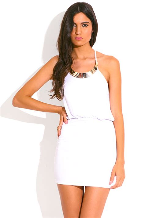 1015 Lorein Abstract Layer Mini Dress shop white bejeweled halter fitted summer clubbing mini dress