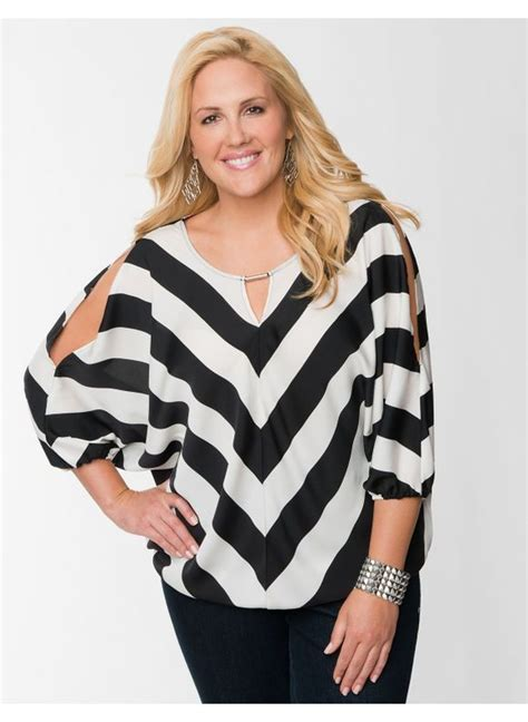 sholderlane hair cut lane bryant plus size chevron wedge blouse women s