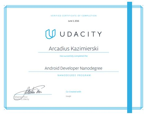 android certification udacity android developer nanodegree graduation certificate of completion arcadius