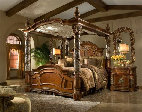bedroom victorian style brown glaze wooden canopy bed