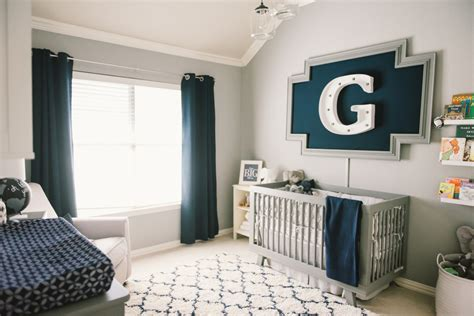 graysons modern grey navy  white nursery project