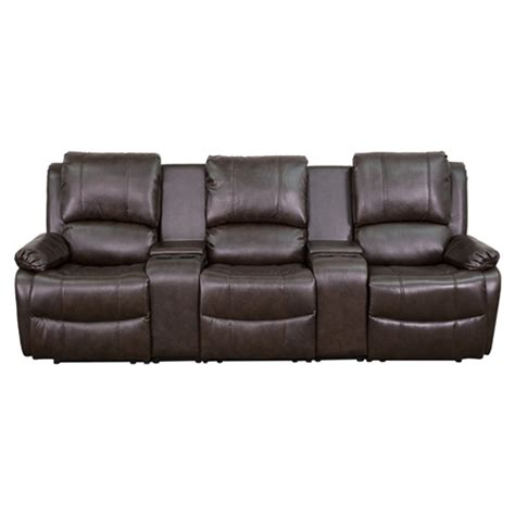 3 Seat Leather Recliner by Series 3 Seat Leather Recliner Brown Cup Holders