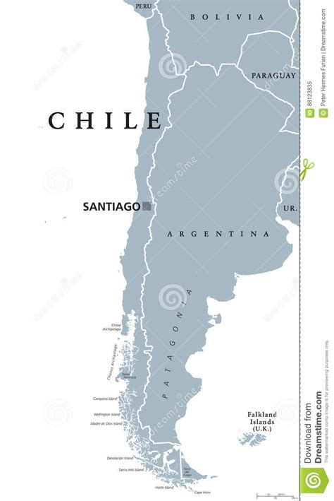 south america map borders chile political map stock vector image 88123835
