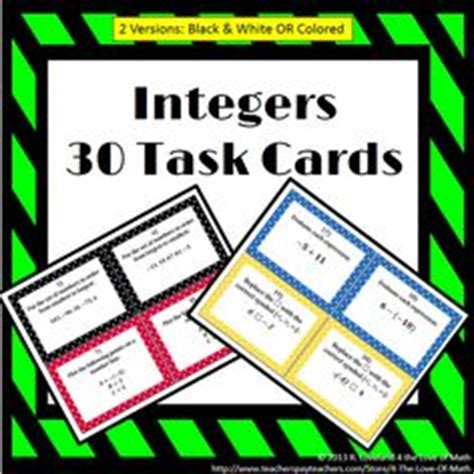 Integer Cards Printable