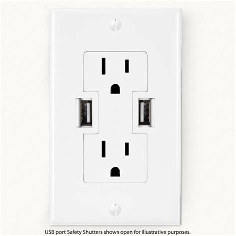 With Usb Outlets Three Prong Usb Power Outlets In Wooden Desk