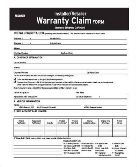 warranty claim form template 8 claim form sles free sle exle format