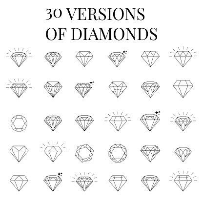 diamond tattoo vector vector art diamond icons set design pinteres
