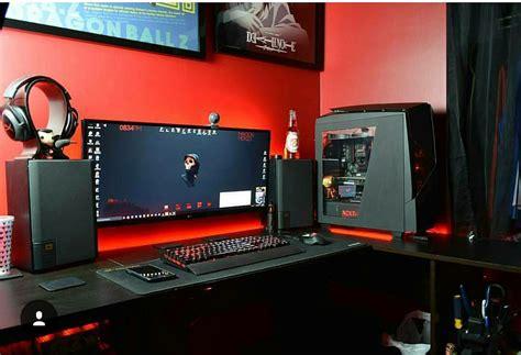Awesome Gaming Desk Awesome Black Design Setup Computer Tech Setups And More Pinterest Black