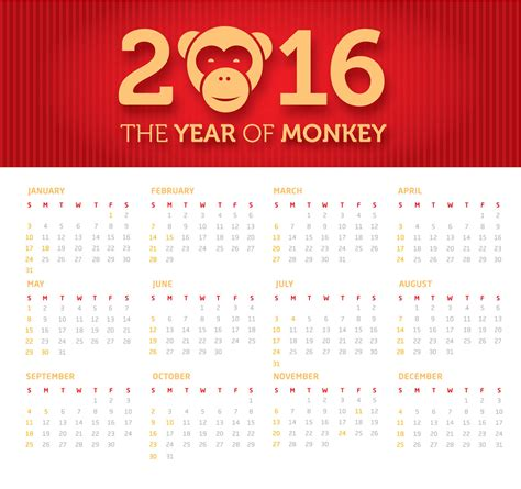 Year Of Monkey 2016 2016 year of the monkey free vector