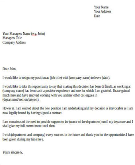 Resignation Letter Sle New Career Sle Resignation Letter 8 Exles In Word Pdf