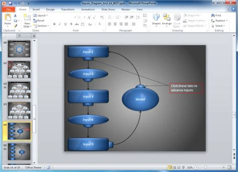 Animated Inputs Diagram Template For Powerpoint Interactive Powerpoint Presentation Templates