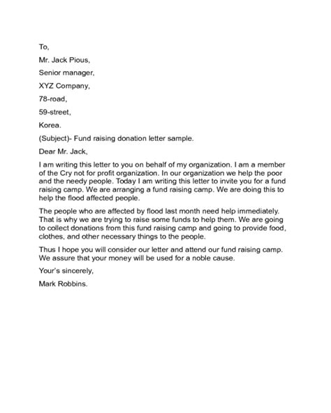 Charity Letter One Show 28 Images Use This Template To Send Out Requests For Donations To Sle Fundraising Letter Template
