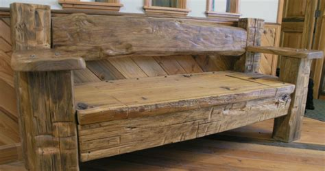 recycled wood bench reclaimed wood furniture post 7