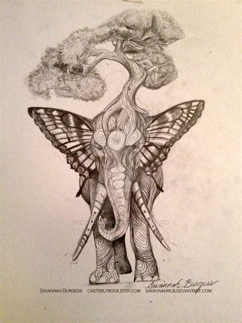 unique tree tattoo designs unique tree on elephant design by burgess