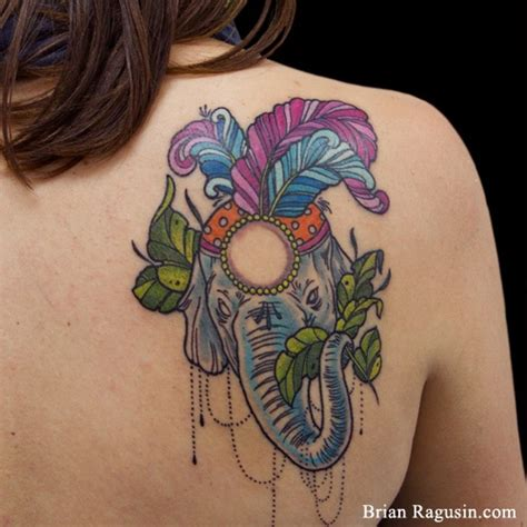 elephant with headpiece tattoo colorful elephant with feathers tattoo by brian ragusin
