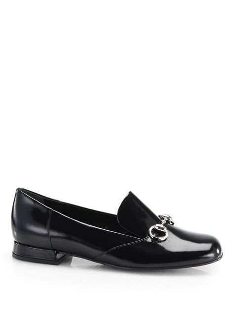black gucci loafers gucci patent leather horsebit loafers in black lyst