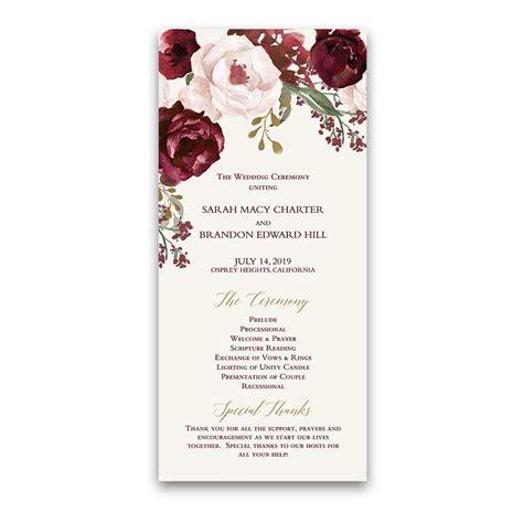 wedding invitations program floral wedding wedding programs fall burgundy gold