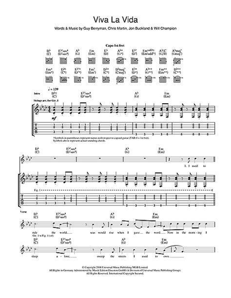 guitar tutorial viva la vida viva la vida guitar tab by coldplay guitar tab 42281