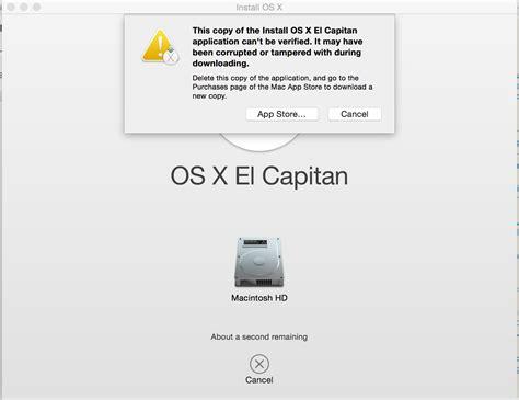 el capitan install this copy of the install os x el capitan application can t
