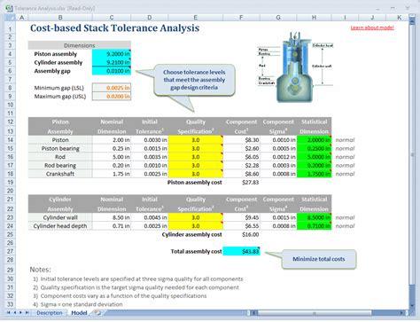 Tolerance Analysis Spreadsheet tolerance analysis spreadsheet model