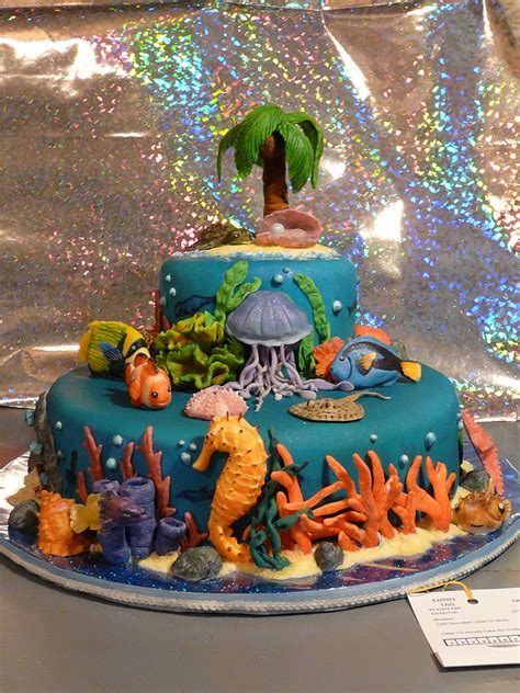 island decor with underwater tints ocean cake decorating