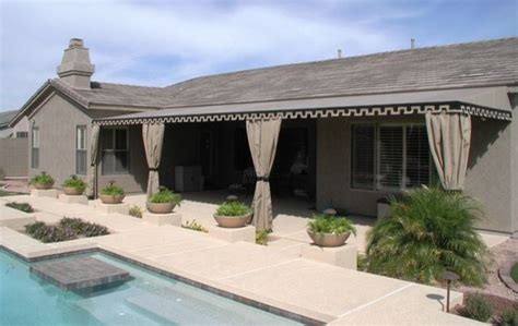 Outdoor Awnings by Patio Awnings Outdoor Drapes Traditional Pool By Tent And Awning Company