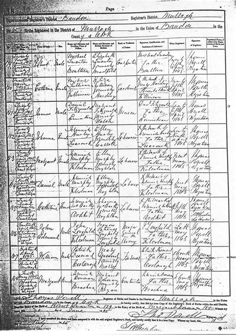 Cork County Ireland Birth Records Robert Swanton
