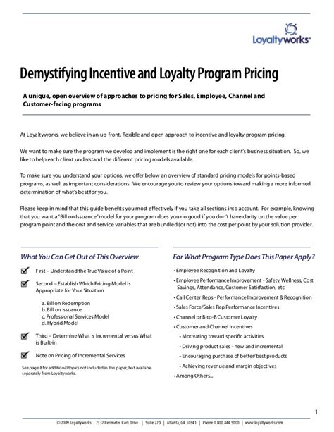 Incentive Award Letter Demystifying Incentive And Loyalty Program Pricing