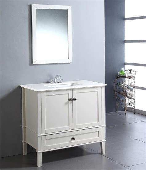 Chelsea Bathroom Vanity Simpli Home Chelsea 36 Quot Bath Vanity With White Quartz Marble Top Soft White Bathroom Vanities