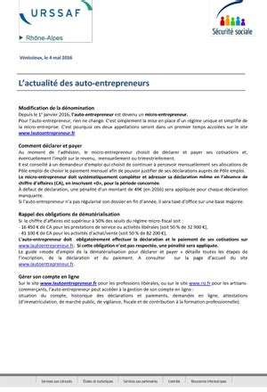 Modification Regime Auto Entrepreneur Janvier 2016 by L Actualit 233 Des Auto Entrepreneurs Union Nationale Des
