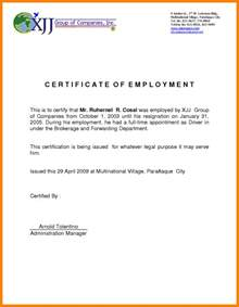 Certification Of Employment Letter Format 6 Certificate Of Employment Sample Format Fancy Resume