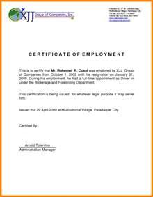 6  certificate of employment sample format   fancy resume
