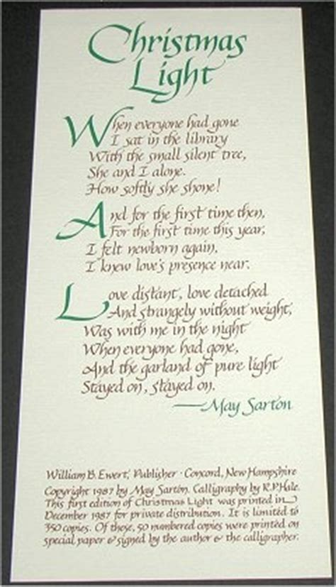 christmas light poem by may sarton may sarton