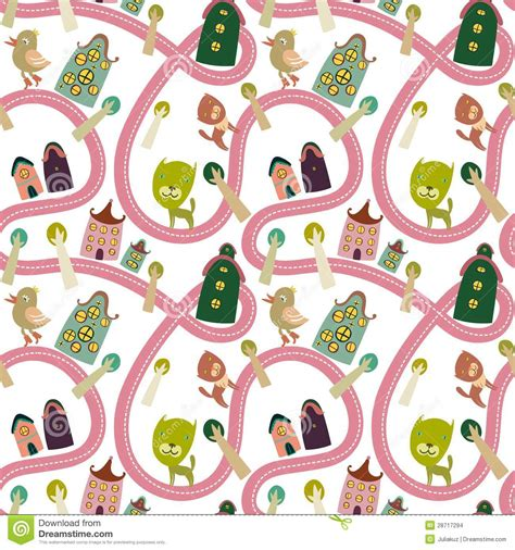 seamless pattern houses road seamless pattern with houses and animals stock vector